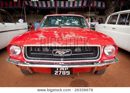 CHENNAI - INDIA - JULY 24:Ford Mustang (retro vintage car) on Heritage Car Rally 2011 of Madras Heritage Motoring Club at Egmore on July 24, 2011 in Chennai, India