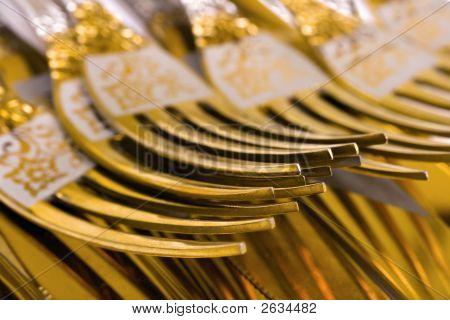 Macro Of Golden Forks