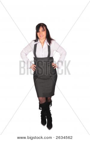 Middleaged Woman In Overalls Posing