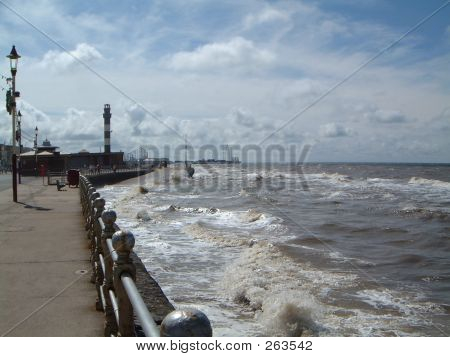 Rough Sea Against The Prom