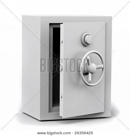 safe deposit box on white