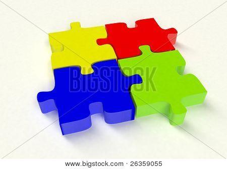 3D color puzzle on white
