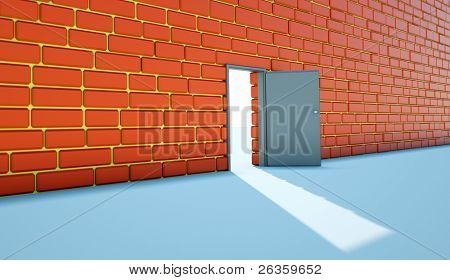 Open bright door opposite to red  wall