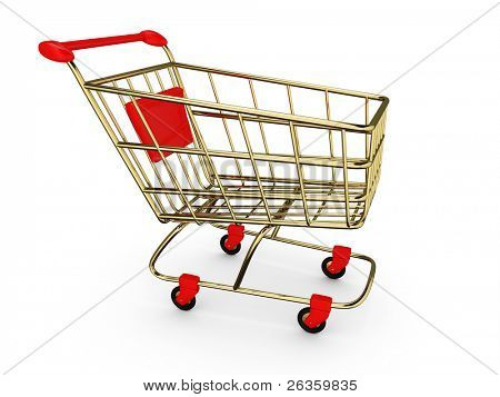 Gold empty Shoppingcart isolated on white