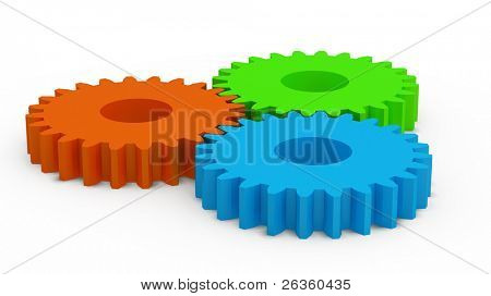3D color plastic gears, motion concept