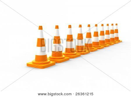 Orange road cones on white