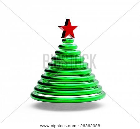 Green 3d Fur tree on white