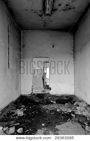 grunge abandoned house interior