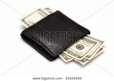 wallet with dollas isolated on white