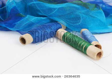 blueish silk and matching threads