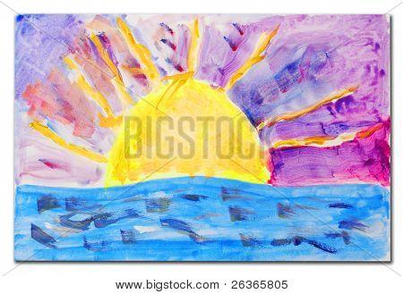 beautiful sunset scene painting, child artwork