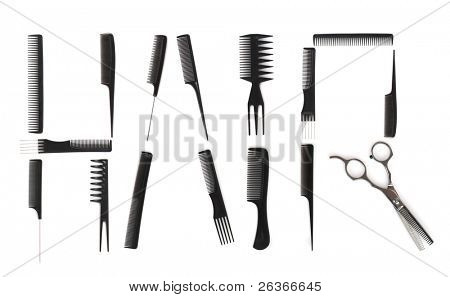 hairdo concept, combs used to write HAIR