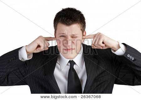 young business man not listening