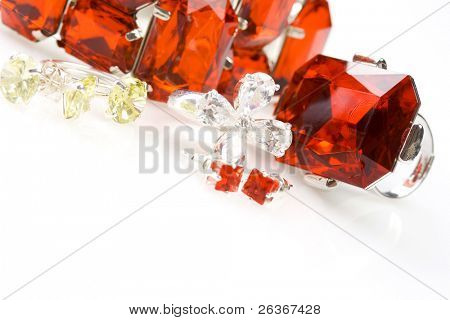 rings, earrings and bracelet, colorful crystals