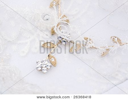 textile wedding background, veil and jewelry