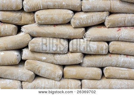 stacked cement sacks