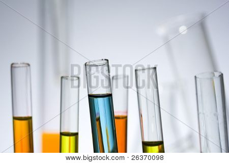 test tubes with colorful liquid in the chemical laboratory