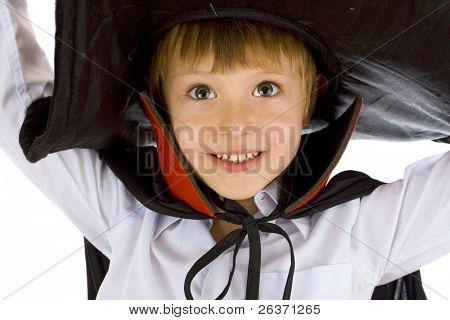 closeup portrait of a boy in  wizard costume