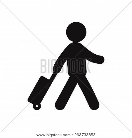 poster of Traveler With A Suitcase Icon Isolated On White Background. Traveler With A Suitcase Icon In Trendy