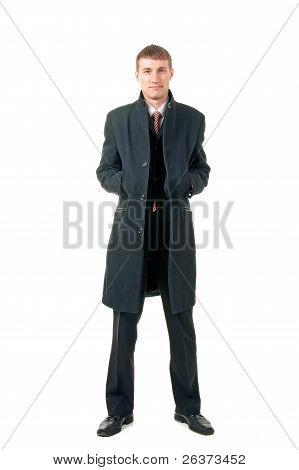 Men In Coat, Isolated On White