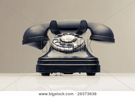 vintage black telephone closeup