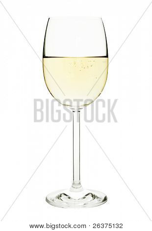 Glass of white wine or the champagne, isolated on a white background