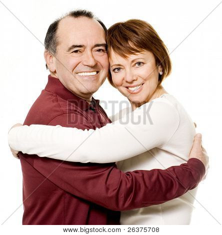 Romantic senior couple laughing