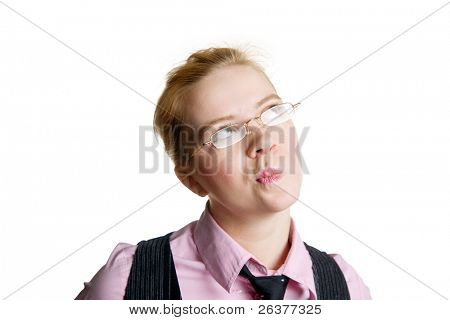 Portrait of young business woman thinking of something