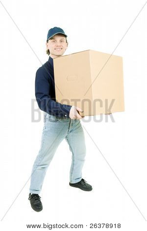 Smiling man in blue jeans and shirt caring a box.