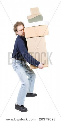 Tired man carrying different size boxes