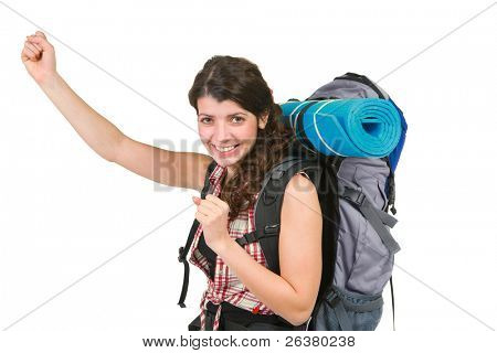 photo of a young lady with tourist rucksack