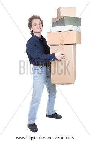 man carrying a pile of cardboard boxes