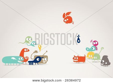 funky friends meeting - abstract creatures illustration, social network, family concept, event