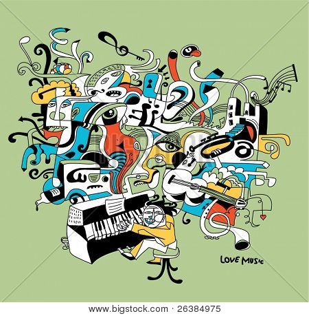 creative illustration of musician playing on piano - abstract music concept