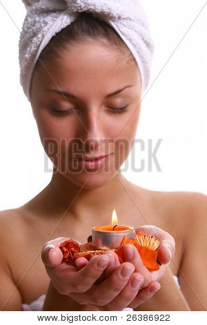 beautiful woman in relaxation athmosphere