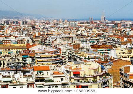 beautiful city view of barcelona