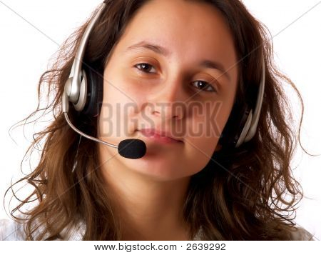 Woman Wearing A Headset