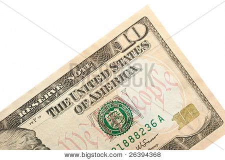 new ten dollar bill released for circulation in march 2006, isolated macro