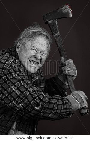 Crazy Old Man With Axe