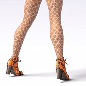 Beautiful Female Legs Woolen Leggings And Half-beads. Sexy Slim Female Legs Boots. Autumn-spring Col poster