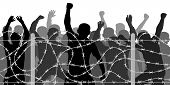 Crowd People Behind Barbed Wire, Vector Silhouette. Migrants And Refugee Stand Behind The Barrier Fe poster