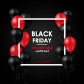 Black Friday Sale Banner. Shiny Black And Red Balloons On Black Background. Vector Design Template. poster
