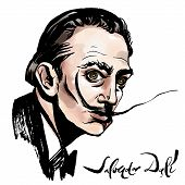 Vector Hand Drawn Watercolor Portrait With Famous Artist Salvador Dali And His Signature. poster