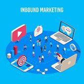 Inbound Marketing Isometric. Online Mass Market Ads, Business Target Sales Ad And Offline Sale Advan poster