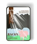 Plastic Container Tray With Cellophane Cover. For Pork Meat. Vector poster
