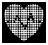 Halftone Pixelated Heart Pulse Icon. White Pictogram With Pixelated Geometric Pattern On A Black Bac poster