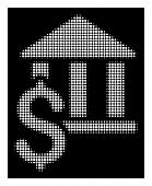 Halftone Dotted Pay Library Icon. White Pictogram With Dotted Geometric Structure On A Black Backgro poster