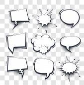 Big Set Hand Drawn Blank Effects Template Comic Speech Bubbles Halftone Dot Vector Transparent Backg poster