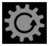 Halftone Pixel Cogwheel Rotation Icon. White Pictogram With Pixel Geometric Pattern On A Black Backg poster