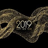 Luxury 2019 Happy New Year Card With Gold Confetti. Foil Texture Gold Glitter Confetti Sparkles On B poster